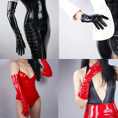 Women Sexy Latex Long Gloves Shiny Wet Look Leather Mittens Party Opera Costume