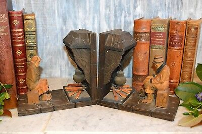 Antique Pair Black Forest Bookends Carved Wood Fireplace Figural Male Female Dog