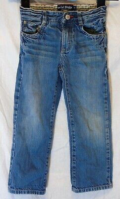 Boys Mini Boden Blue Whiskered Denim Adjustable Waist Relaxed Jeans Age 5 Years