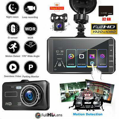 "4"" Dual Lens Car DVR Touch Dash Cam 1080P HD Front And Rear Camera Recorder 32GB"