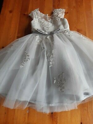 Girls White & Grey Bridesmaid Dress Age 4 Years (Approx) - Damaged