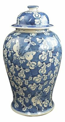 "Festcool 19"" Antique Finish Blue and White Porcelain Blue Butterfly Temple Ce..."