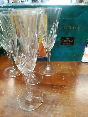 Cristal de Flandre SALZBURG Champagne Flutes  SET OF FOUR MINT IN BOX