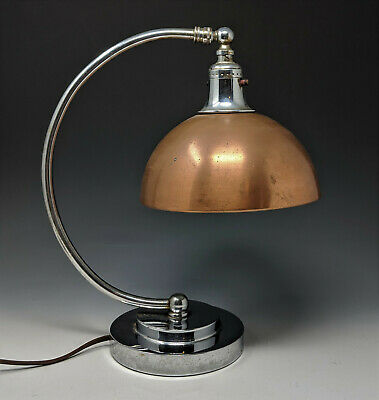 1930s Machine Age Streamline Art Deco CHROME & COPPER DESK LAMP chase markel era
