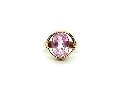 Antique Art Deco Russian 14ct Rose Gold Pink Sapphire Large Ring Size - T/U