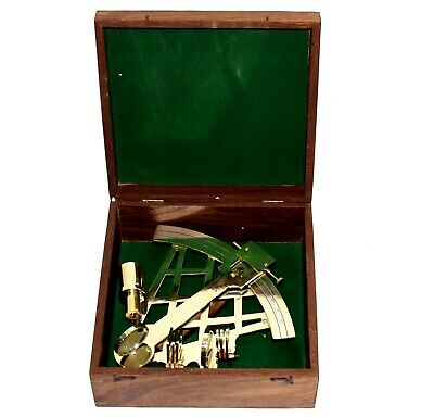 """Large Brass Sextant W/Wooden Box 10"""" Nautical Navigation Collection"""