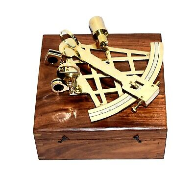 "Large Brass Sextant W/Wooden Box 10"" Nautical Navigation Collection"