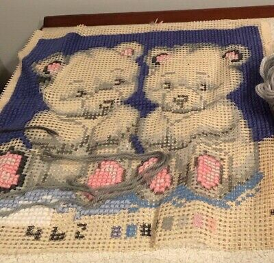 Part Completed Big Stitch Tapestry Kit- Bears (Canvas, Wool & Needle)