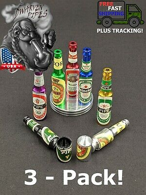 "3 Pack: 2.5"" Metal Tobacco Smoking Pipe Mini Beer Bottle"