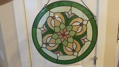 """Stained Glass Green  Round Magnolia Window Panel 14"""" Across Vintage Nice Shape."""