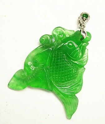 Chinese Ice Green Jadeite Jade Handwork Collectible Amulet Pendant A005