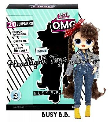 """1 Authentic LOL Surprise BUSY B.B. OMG 10"""" Fashion Doll Series 2 Wave 1 NEW"""