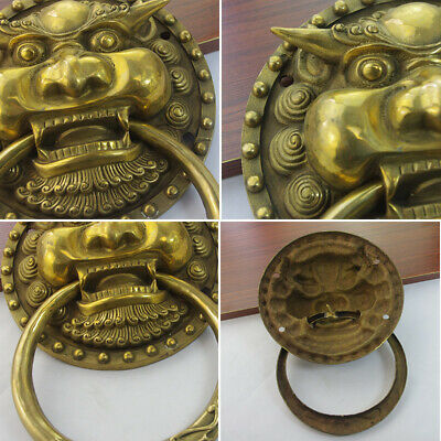 Door knocker,Authentic Fengshui Brass Lion Foo Fu Dog Head Mask Statue new