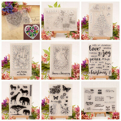 Clear Silicone Rubber Stamp Cling Diary Photo Xmas Scrapbooking DIY YG