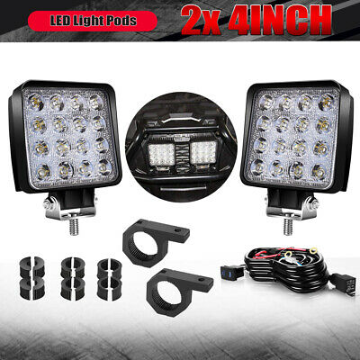 2x 4Inch LED Work Light Pods Spot Square Offroad For Truck SUV Boat Lamp Cube