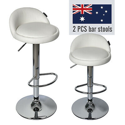 2 x Kitchen Bar Stools Gas Lift Stool Chairs Swivel Barstools Pu Leather White
