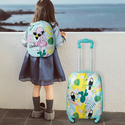 2 Pcs Kids Luggage Set 12 Backpack and amp; 16 Rolling Trolley Suitcase Bag