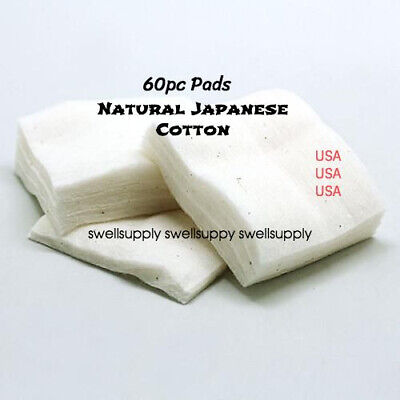 PREMIUM Japanese Cotton [ 60 PADS ] 100% Natural Organic Unbleached Pad USA