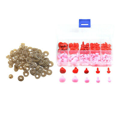 100Pc Plastic Safety Noses with Washers for Doll Teddy Puppet Toys DIY Craft