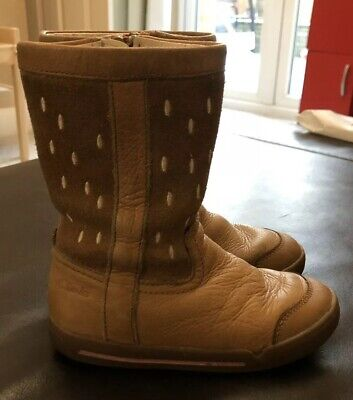 Clarkes Infant Girls Size 7.5 G Tan Leather Boots