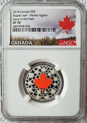 2018 $5 Canada Silver Proof NGC SP70 Hearts Aglow GLOW IN THE DARK MAPLE LEAF