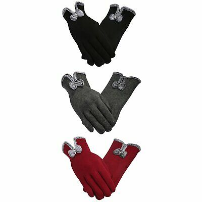 Women Winter Warm Touch Screen Gloves Full Finger Mittens Driving Windproof