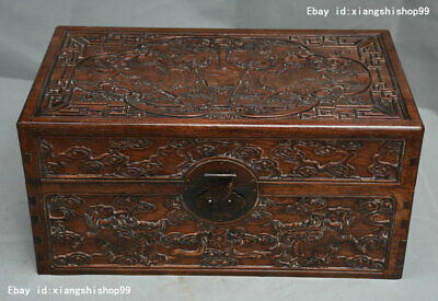 """18"""" Old China HuangHuaLi Wood Carved Dragon Kylin Beast Statue Storage Box Boxes"""