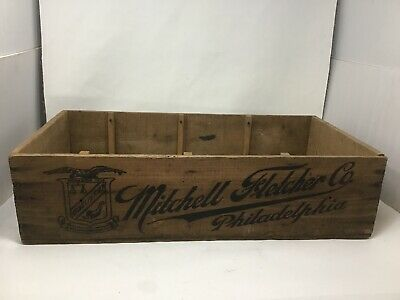 Vintage Mitchell Fletcher Co Philadelphia PA Wood Advertising Crate Food Cracker