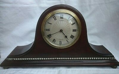 French 8 Day Decorative Mahogany Case Mantel/ Bedroom Clock Bideford GWO