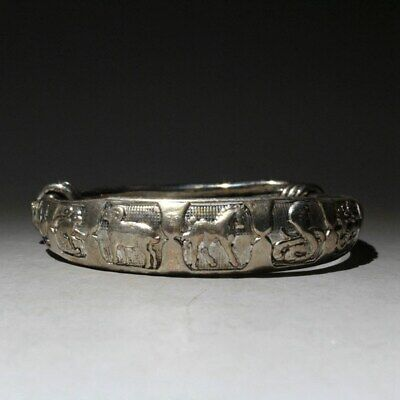Collectable China Handwork Old Miao Silver Carve 12 Zodiac Lucky Noble Bracelets
