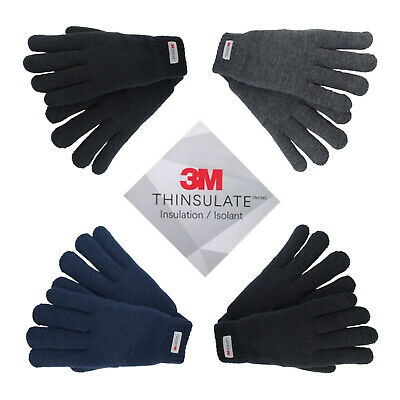 Womens Mens 3M Thinsulate Insulated Soft Knitted Thermal Full Finger Gloves