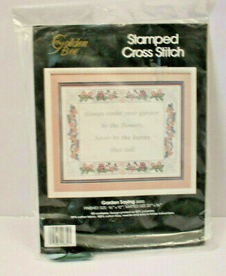 Stamped Cross Stitch Garden Saying Kit Vintage Golden Bee Sealed