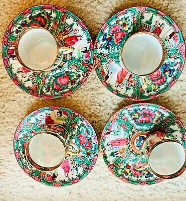 Antique 18th Century Chinese Export Rose Medallion Cup Plate Set