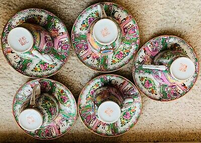 Antique 18th Century Chinese Export Rose Medallion Cup Plate Set of Five