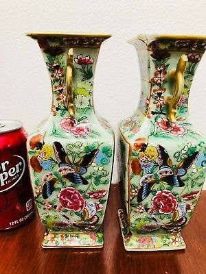 Pair Of Antique Chinese Export Square Vases Canton Famille Rose  19Thc