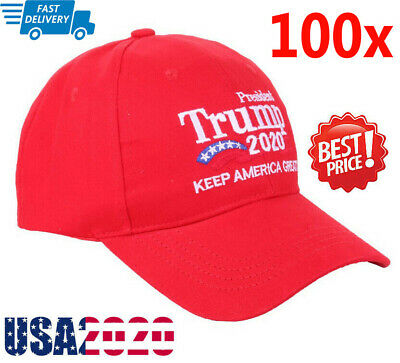 100Pcs Donald Trump 2020 Keep Make America Great Cap President Election Hat -Red