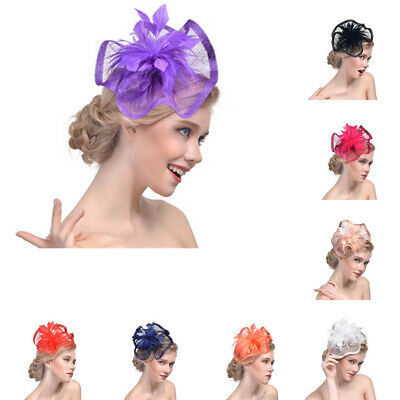 Women's Feather Veil Fascinators Headband Hair Clips Wedding Bridal Mini Hats