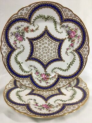 """(2) French Sevres Style  10.5"""" Gold Encrusted CABINET PLATES"""
