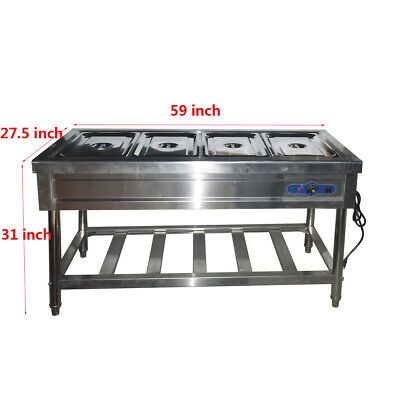 220V 4-Well Food Warmer Steam Table Floor Model, Four Full Size Pans New
