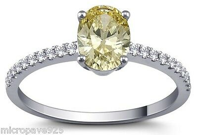 Canary Yellow Oval Shaped Solitaire Ring With Pave Setting Sterling Silver 925