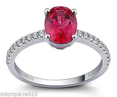 Created Ruby Oval Shaped Solitaire Ring With Pave Setting Sterling Silver 925
