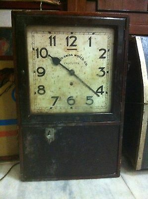 RARE 1910s ANGLO SWISS WATCH CO ANTIQUE PUNCH CARD TIME RECORDER WALL CLOCK
