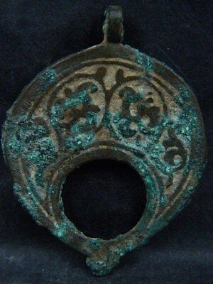 Ancient Bronze 2 Sided Pendant Islamic 1200 AD #BR7321