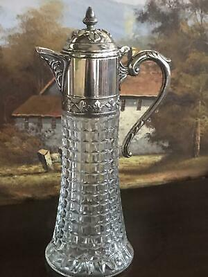 Vintage Silver Plated Top Glass Claret Jug [5759]