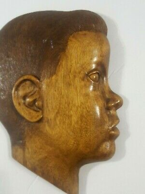 Vintage Carved Wooden boy or child head profile, hanging wall Plaque Decor, Rare