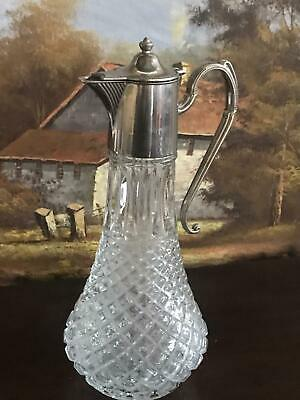 Vintage Silver plated Top Glass Claret Jug [5761]