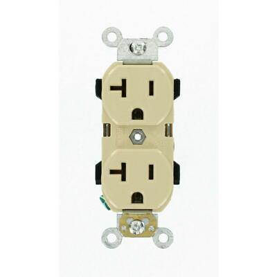 Leviton 20 Amp Industrial Grade Heavy Duty Self Grounding Duplex Outlet, Ivory