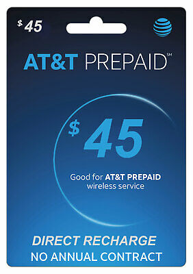 AT&T Prepaid $45 Refill Top-Up Prepaid Card / DIRECT RECHARGE