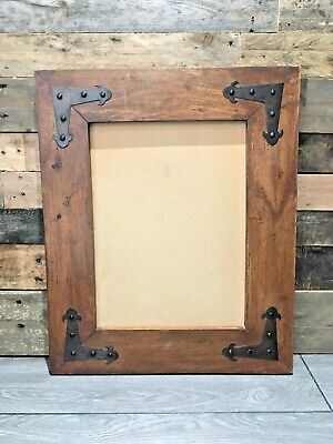 Large Vintage Arts & Crafts Style Wooden Oak & Iron Rustic Frame Picture Mirror