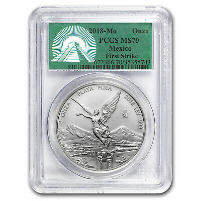 2018 Mexico 1 oz Silver Libertad MS-70 PCGS (FS, Green Label) - SKU#162759